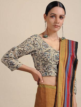 Ivory-Blue Kalamkari Printed Cotton Blouse