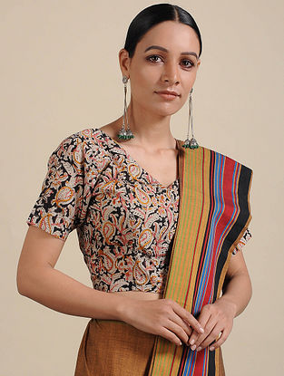 Ivory-Black Kalamkari Printed Cotton Blouse