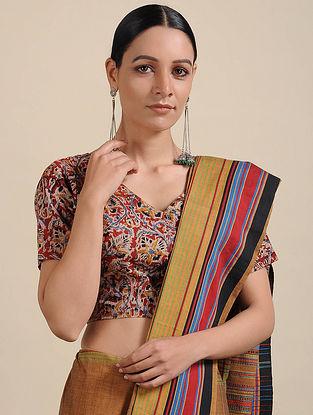 Ivory-Red Kalamkari Printed Cotton Blouse