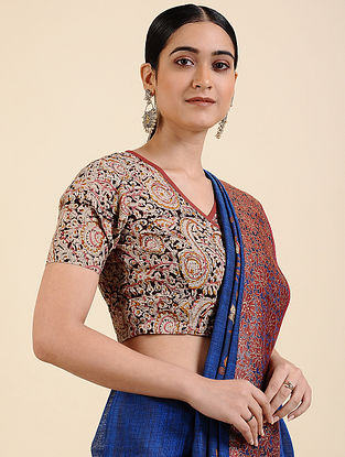 Ivory-Pink Kalamkari Printed Cotton Blouse