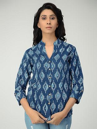 Indigo Block-printed Cotton Shirt