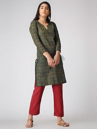 Green Ajrakh-printed Cotton Kurta