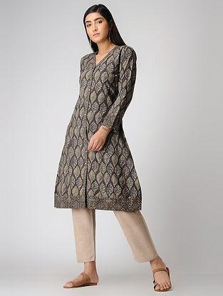 Brown Ajrakh-printed Cotton Kurta