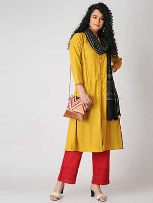 Yellow Button-down Cotton Slub Kurta