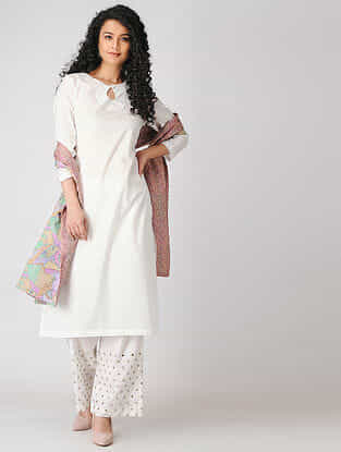 White Cotton Dobby Kurta