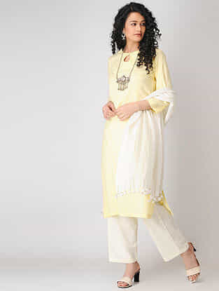 Yellow Cotton Dobby Kurta