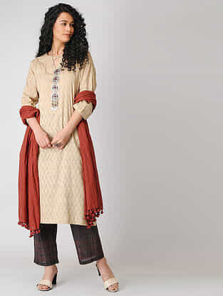 Beige Cotton Dobby Kurta