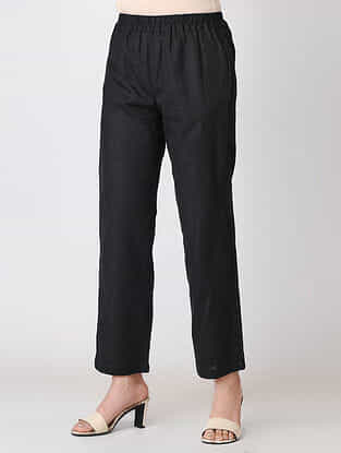 Black Elasticated Waist Cotton Slub Pants