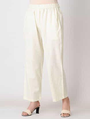 Ivory Elasticated Waist Cotton Slub Pants