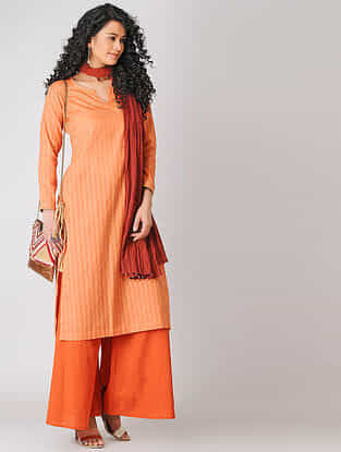 Peach Cotton Slub Kurta with Tassels