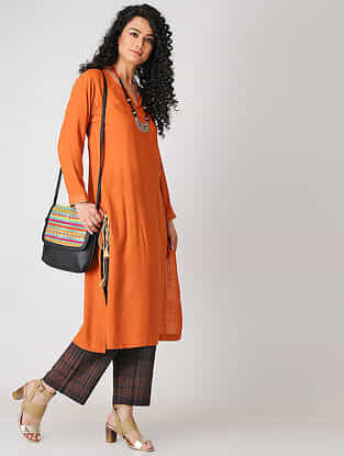Orange Cotton Slub Kurta with Tassels