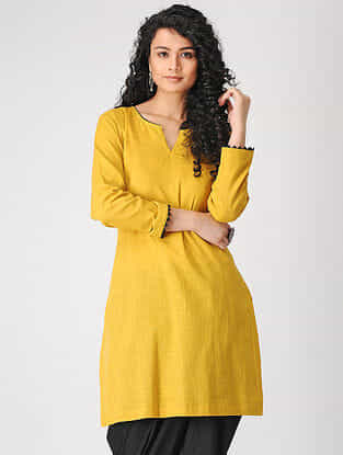 Yellow Cotton Slub Kurta