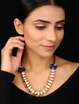 Blue Red Dual Tone Handcrafted Necklace