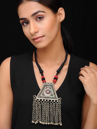 Black Red Silver Tone Tribal Necklace