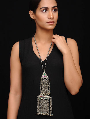 Pink Silver Tone Tribal Necklace
