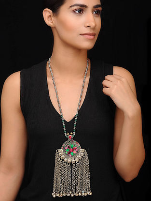 Green Silver Tone Tribal Necklace