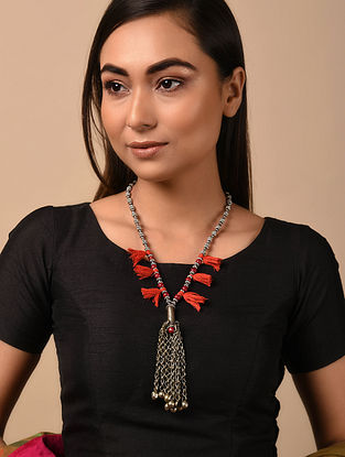 Red Silver Tone Vintage Necklace