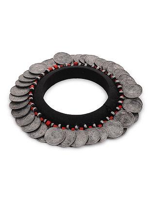 Black Cloth Bangle with Coin Design