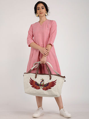 Cream Hand Embroidered Canvas Tote with Sequin Embellishments