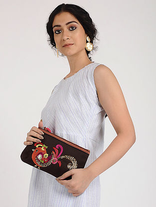 Brown Hand Embroidered Canvas Pouch with Sequin Embellishments