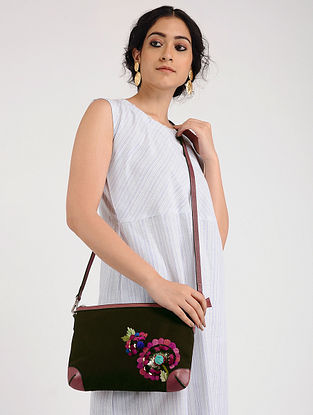 Brown Hand Embroidered Canvas Sling Bag with Sequin Embellishments