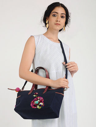 Blue Hand Embroidered Canvas Handbag with Sequin Embellishments