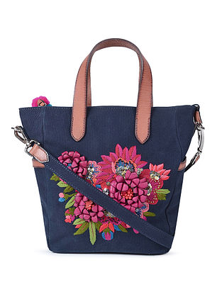 Navy Blue Hand-Embroidered Canvas Sling Bag with Leather Embellishments