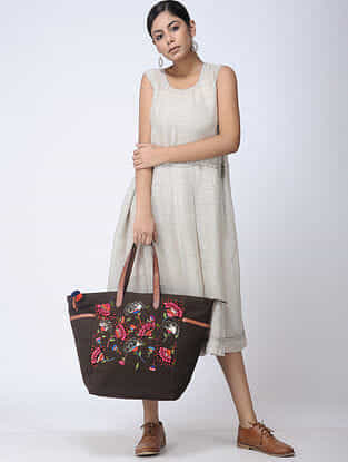Brown Hand-Embroidered Canvas Tote with Leather Embellishments