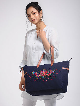 Blue Hand-Embroidered Canvas Tote with Sequin Embellishments