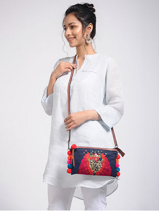 Blue Hand-Embroidered Canvas Sling Bag with Embellishments