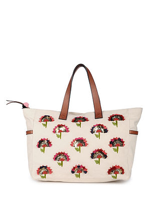 Cream Hand Embroidered Canvas Handbag With Sequin Embellishments