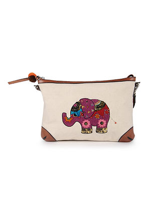 Cream Hand Embroidered Canvas Sling Bag With Sequin Embellishments