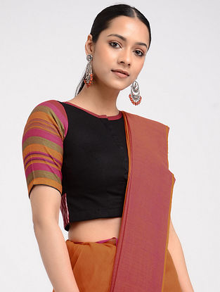 Black-Pink Hand-embroidered Ikat Cotton Blouse