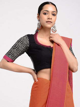 Black-Pink Hand-embroidered Cotton Blouse
