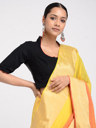 Black Hand-embroidered Linen-Cotton Blouse