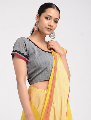 Grey-Black Hand-embroidered Ikat Cotton Blouse