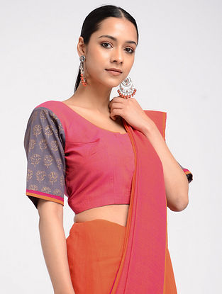 Pink Block-printed Cotton Blouse with Hand Embroidery