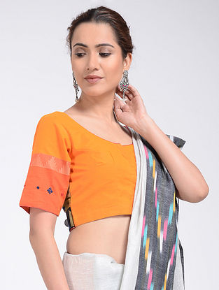Orange Hand-embroidered and Block-printed Cotton Blouse