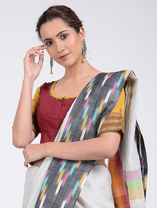 Red-Yellow Hand-embroidered and Block-printed Cotton Blouse