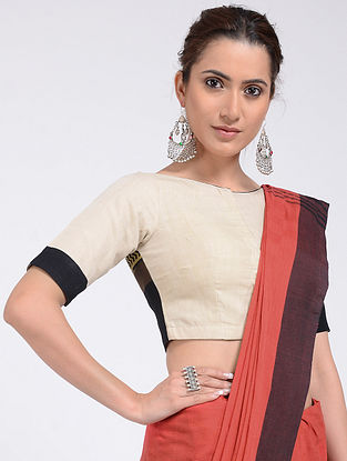 Beige-Black Hand-embroidered and Block-printed Cotton Blouse with Block-print