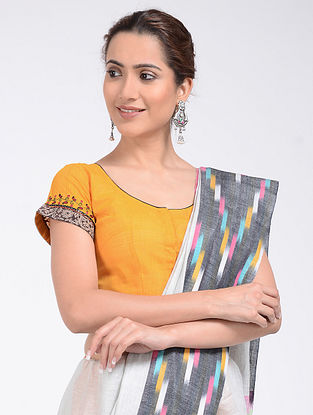 Yellow-Rust Hand-embroidered and Block-printed and Block-printed Cotton Blouse with Block-print