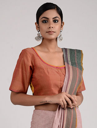 Peach Hand-embroidered Mangalgiri Cotton Blouse