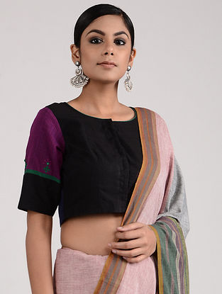 Black-Purple Hand-embroidered Chettinad Cotton Blouse