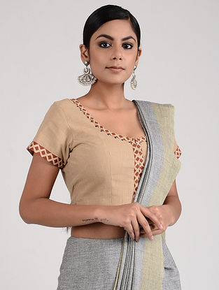 Beige-Red Block-printed and Hand-embroidered Mangalgiri Cotton Blouse