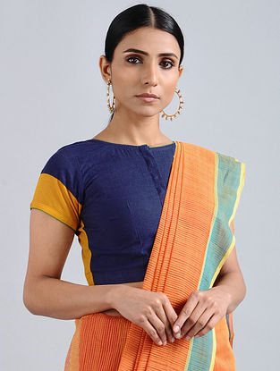 Blue-Yellow Hand Embroidered Cotton Blouse