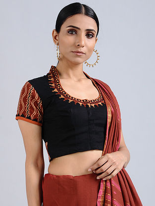 Black-Red Hand Embroidered Ikat Cotton Blouse