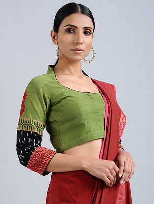 Green Hand Embroidered Ikat Cotton Blouse