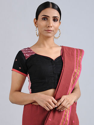 Black Hand Embroidered Ikat Cotton Blouse