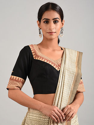 Black-Brown Hand Embroidered Linen Cotton Blouse