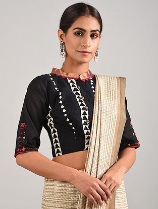 Black-White Block Printed Cotton Blouse with Hand Embroidery